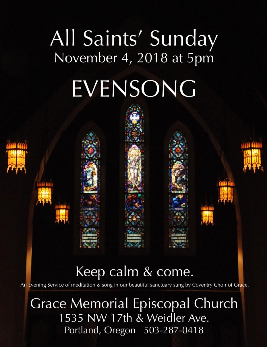 All SAints SUNDAY EVENSONG flyer Nov. 4. 2018